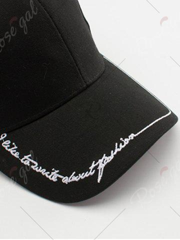 Discount Line Letters Embroidery Baseball Hat - BLACK  Mobile