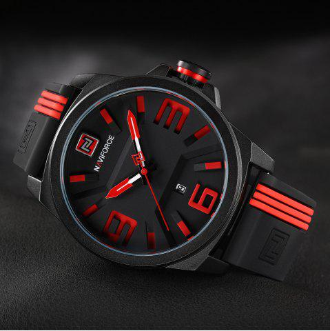 Outfit NAVIFORCE 9098 Silicone Strap Luminous Date Quartz Watch - RED  Mobile