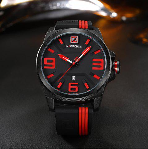 Chic NAVIFORCE 9098 Silicone Strap Luminous Date Quartz Watch - RED  Mobile