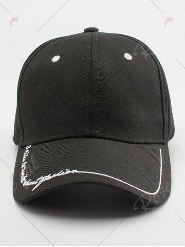 Outfit Line Letters Embroidery Baseball Hat - BLACK  Mobile