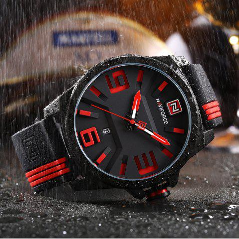 Buy NAVIFORCE 9098 Silicone Strap Luminous Date Quartz Watch - RED  Mobile