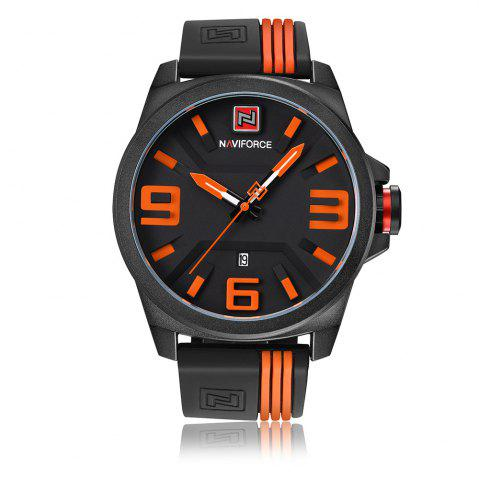 NAVIFORCE 9098 Silicone Strap Luminous Date Quartz Watch Orange