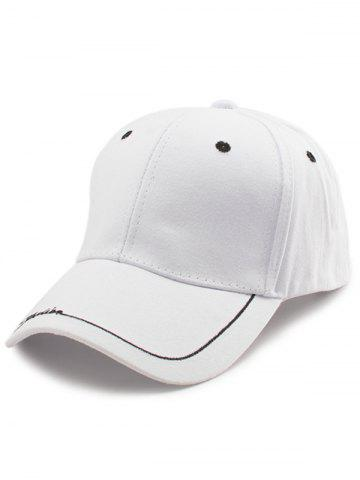 Unique Line Letters Embroidery Baseball Hat WHITE