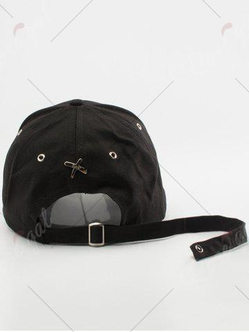 Chic Letters Embroidered Long Tail Baseball Cap - BLACK  Mobile