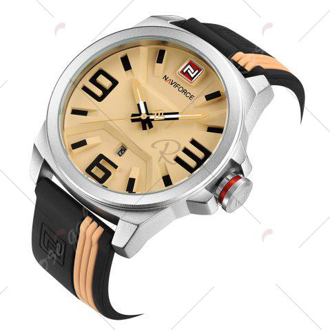 Shops NAVIFORCE 9098 Silicone Strap Luminous Date Quartz Watch - WHITE AND YELLOW  Mobile