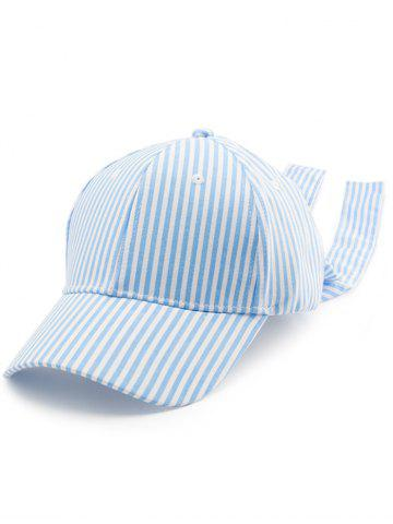 Shops Bowknot Long Tail Stripe Baseball Hat PINKISH BLUE