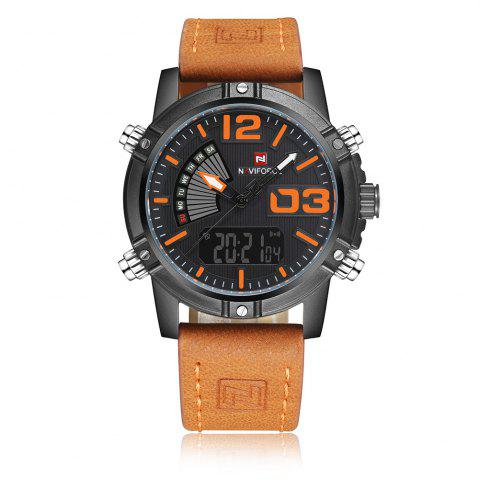 Store NAVIFORCE 9095 Faux Leather Strap Luminous Analog Digital Watch - MANDARIN  Mobile