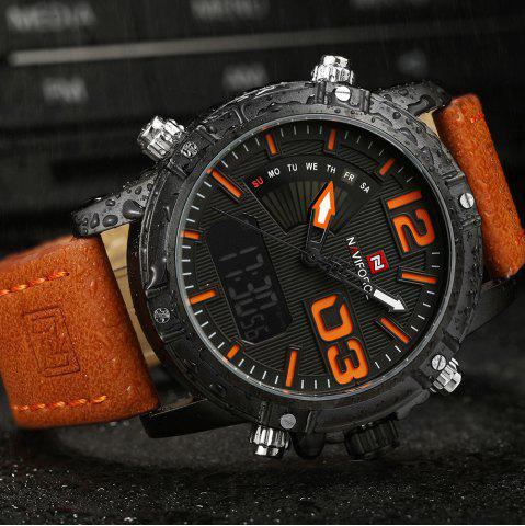 Hot NAVIFORCE 9095 Faux Leather Strap Luminous Analog Digital Watch - MANDARIN  Mobile