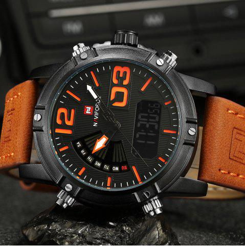 Fashion NAVIFORCE 9095 Faux Leather Strap Luminous Analog Digital Watch - MANDARIN  Mobile