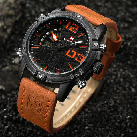 Shop NAVIFORCE 9095 Faux Leather Strap Luminous Analog Digital Watch - MANDARIN  Mobile