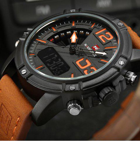 Outfits NAVIFORCE 9095 Faux Leather Strap Luminous Analog Digital Watch - MANDARIN  Mobile