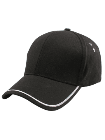 Outfits Plain Line Embroidered Baseball Hat - BLACK  Mobile