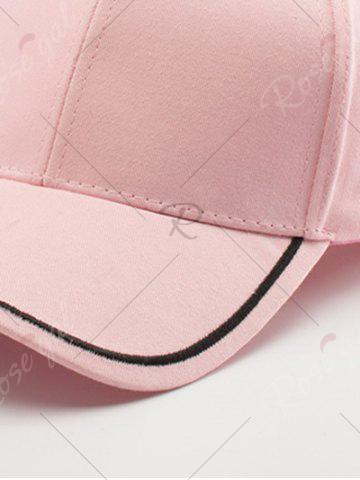 Fashion Plain Line Embroidered Baseball Hat - PINK  Mobile