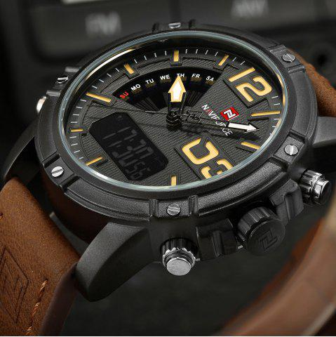 New NAVIFORCE 9095 Faux Leather Strap Luminous Analog Digital Watch - BROWN  Mobile