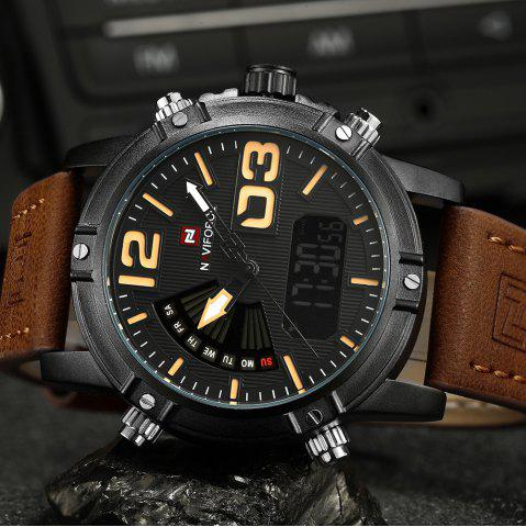 Discount NAVIFORCE 9095 Faux Leather Strap Luminous Analog Digital Watch - BROWN  Mobile