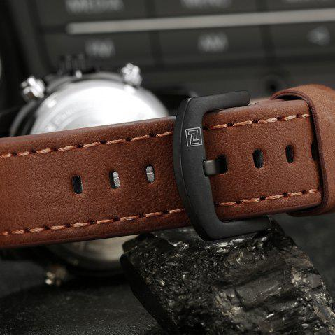 Outfits NAVIFORCE 9095 Faux Leather Strap Luminous Analog Digital Watch - BROWN  Mobile