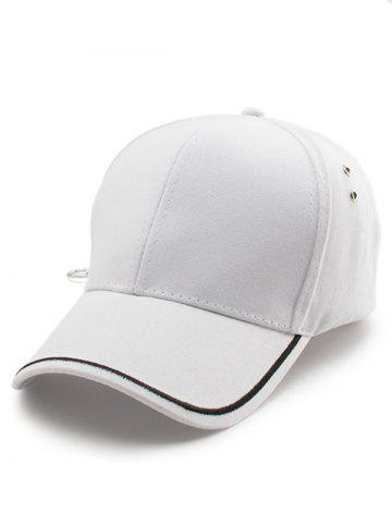 Fancy Plain Line Embroidered Baseball Hat - WHITE  Mobile