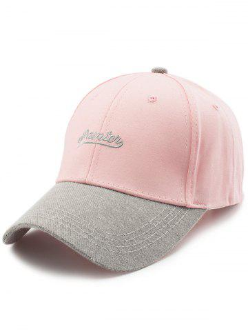 Discount Letters Embroidered Two Tone Baseball Cap - LIGHT PINK  Mobile