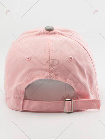 Trendy Letters Embroidered Two Tone Baseball Cap - LIGHT PINK  Mobile