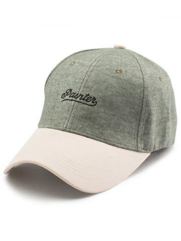Trendy Letters Embroidered Two Tone Baseball Cap - GREEN  Mobile