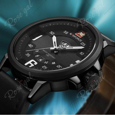 Cheap NAVIFORCE 9086 Faux Leather Band Luminous Date Watch - BLACK  Mobile