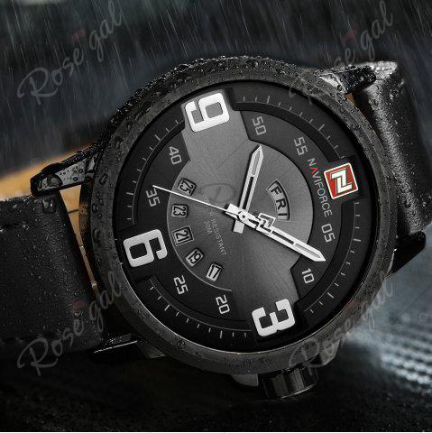 Store NAVIFORCE 9086 Faux Leather Band Luminous Date Watch - BLACK  Mobile