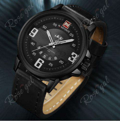 Outfits NAVIFORCE 9086 Faux Leather Band Luminous Date Watch - BLACK  Mobile