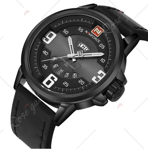 Latest NAVIFORCE 9086 Faux Leather Band Luminous Date Watch - BLACK  Mobile