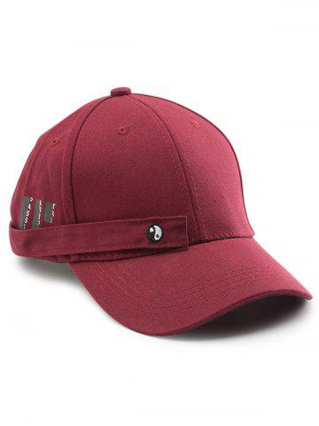 Fancy Tiny Eight Diagrams Rectangle Embellished Baseball Cap WINE RED