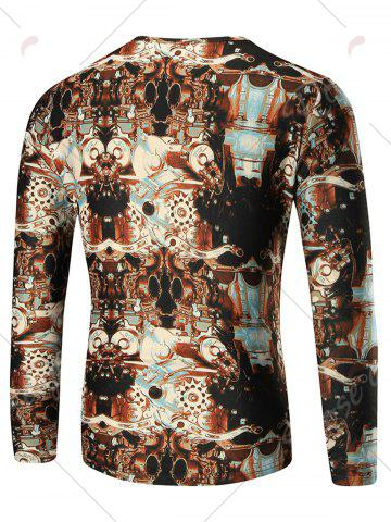 Outfits 3D Machine Print Long Sleeve T-shirt - XL COLORMIX Mobile