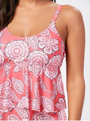 Outfit Floral Tier Flounce Tankini Set - 2XL WATERMELON RED Mobile