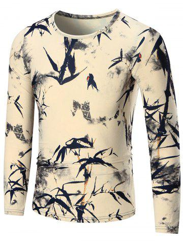 Cheap Bamboo Print Long Sleeve T-shirt - XL COLORMIX Mobile