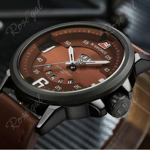 Discount NAVIFORCE 9086 Faux Leather Band Luminous Date Watch - BLACK AND BROWN  Mobile