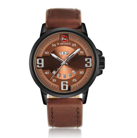 NAVIFORCE 9086 Faux Leather Band Luminous Date Watch Noir et Brun