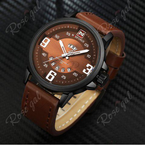 Unique NAVIFORCE 9086 Faux Leather Band Luminous Date Watch - BLACK AND BROWN  Mobile
