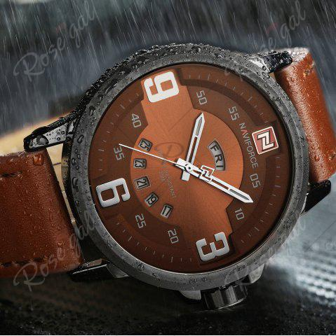 Chic NAVIFORCE 9086 Faux Leather Band Luminous Date Watch - BLACK AND BROWN  Mobile
