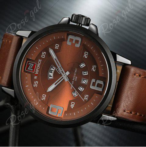 Shop NAVIFORCE 9086 Faux Leather Band Luminous Date Watch - BLACK AND BROWN  Mobile