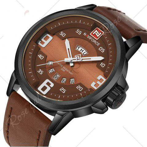 Trendy NAVIFORCE 9086 Faux Leather Band Luminous Date Watch - BLACK AND BROWN  Mobile