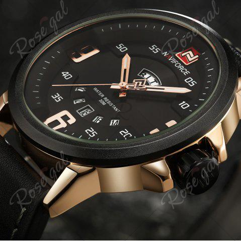 Affordable NAVIFORCE 9086 Faux Leather Band Luminous Date Watch - BLACK AND ROSE GOLD  Mobile