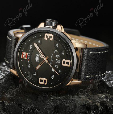 Chic NAVIFORCE 9086 Faux Leather Band Luminous Date Watch - BLACK AND ROSE GOLD  Mobile