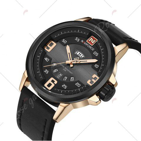 Shop NAVIFORCE 9086 Faux Leather Band Luminous Date Watch - BLACK AND ROSE GOLD  Mobile
