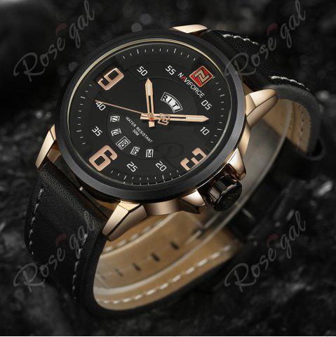 Unique NAVIFORCE 9086 Faux Leather Band Luminous Date Watch - BLACK AND ROSE GOLD  Mobile