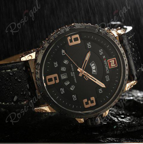 Discount NAVIFORCE 9086 Faux Leather Band Luminous Date Watch - BLACK AND ROSE GOLD  Mobile