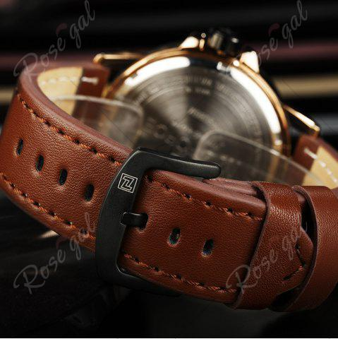 Buy NAVIFORCE 9086 Faux Leather Band Luminous Date Watch - ROSE GOLD AND BROWN  Mobile