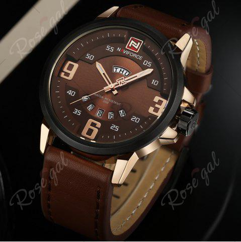 Discount NAVIFORCE 9086 Faux Leather Band Luminous Date Watch - ROSE GOLD AND BROWN  Mobile