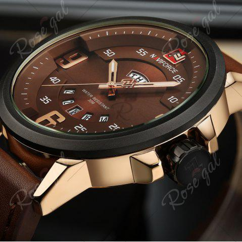 Trendy NAVIFORCE 9086 Faux Leather Band Luminous Date Watch - ROSE GOLD AND BROWN  Mobile