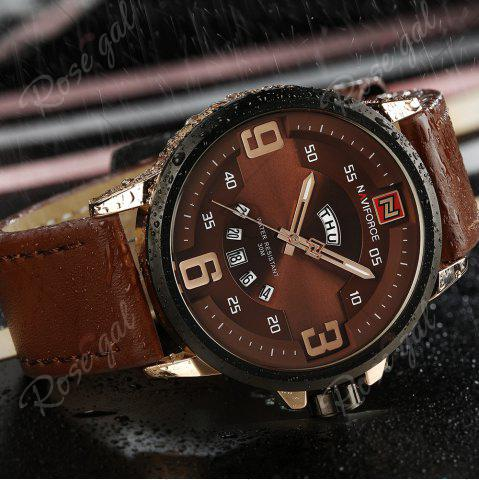 New NAVIFORCE 9086 Faux Leather Band Luminous Date Watch - ROSE GOLD AND BROWN  Mobile