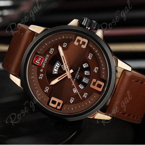 Affordable NAVIFORCE 9086 Faux Leather Band Luminous Date Watch - ROSE GOLD AND BROWN  Mobile