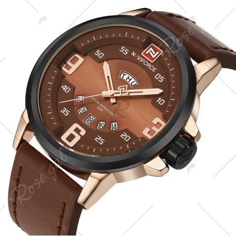 Unique NAVIFORCE 9086 Faux Leather Band Luminous Date Watch - ROSE GOLD AND BROWN  Mobile