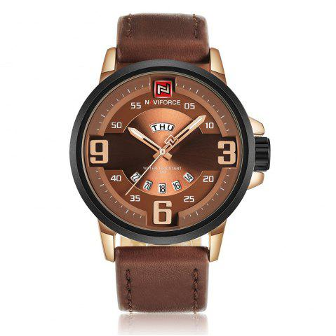 NAVIFORCE 9086 Faux Leather Band Luminous Date Watch - Rose Gold And Brown